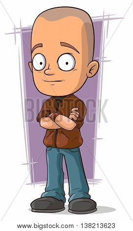 A vector illustration of cartoon bold boy in brown jacket and jeans