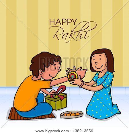 Illustration of a cute girl tying Rakhi on her brother's wrist for Happy Raksha Bandhan celebration.
