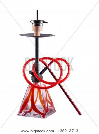 Modern red hookah isolated on white background. Eastern smokable water pipe smoking on white background. red hookah with black rubber tube and black flask isolated on white background.