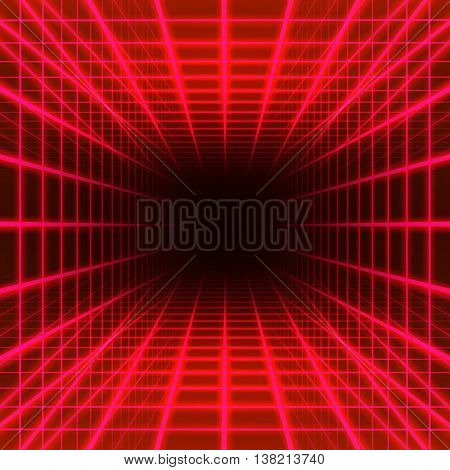 Red dimensional grid space on black background