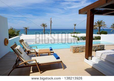 Swimming pool at luxury villa Crete Greece