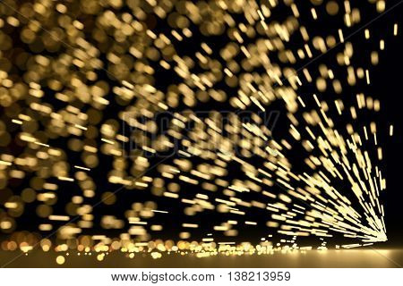 Abstract industrial sparks background with motion blur and bokeh effect. 3D rendering.