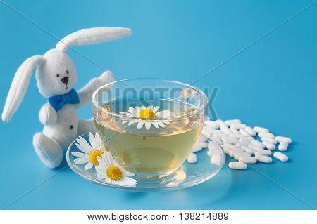 Child Medicine And Toy Rabbit