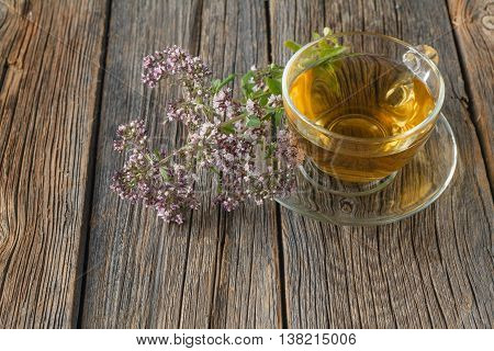 Glass Of Tea And Oregano Herb