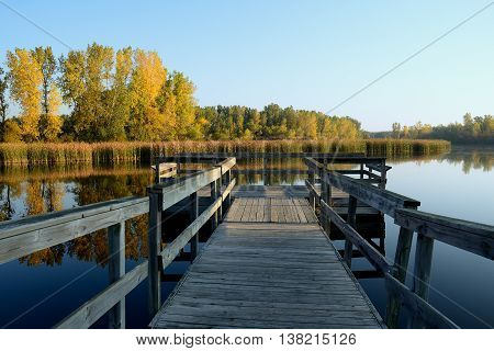 Autumn Colors and a Fishing Dock on a Calm Morning