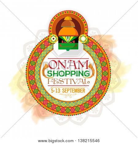 Onam Shopping Festival Poster, Banner or Flyer design, Creative illustration of beautiful floral rangoli with kathakali dancer face for South Indian Famous Festival celebration.