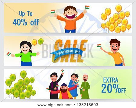 Independence Day Sale website header or banner set, Upto 40% Off, Extra Discount Offer, Vector illustration with cute kids characters and balloons.