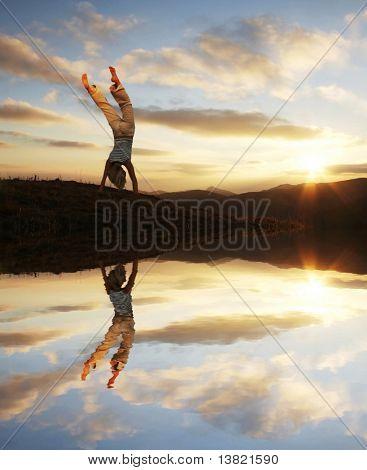 Cartwheel on the sunset