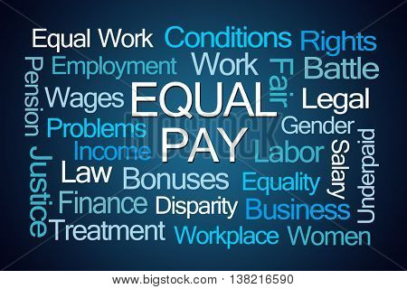 Equal Pay Word Cloud on Blue Background