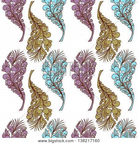 Seamless feather style pattern can be used for wallpaper, website background, wrapping paper. Feather hand-drawn vector bright pattern. Natural concept.