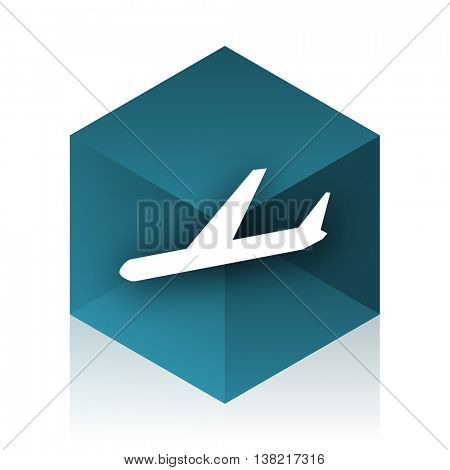 arrivals blue cube icon, modern design web element