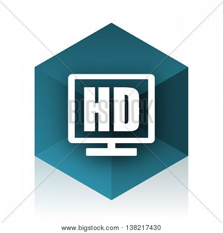 hd display blue cube icon, modern design web element