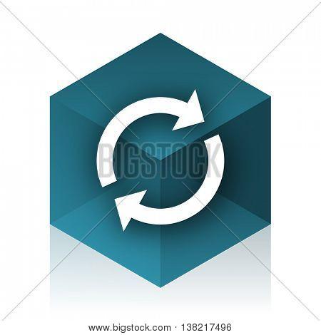 reload blue cube icon, modern design web element