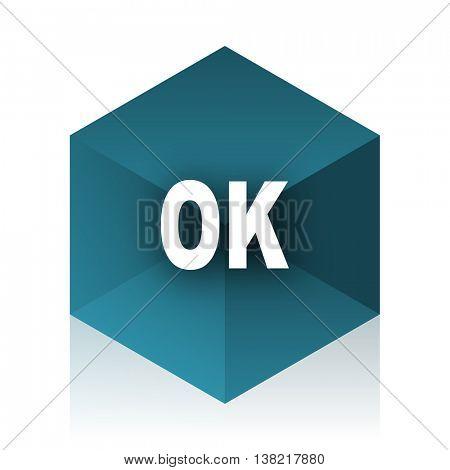 ok blue cube icon, modern design web element
