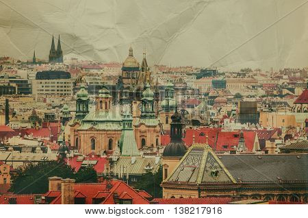 Center of Prague city at autumn with red roofs, european travel landscape background in vintage style