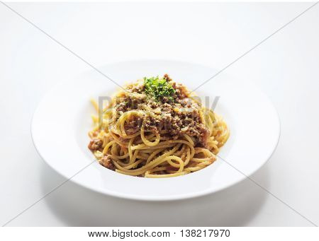 beef spaghetti bolognese bolognaise famous italian pasta food on white background