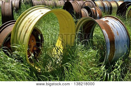 The steel wheels and rims of old  tractors and vintage machinery are in rows  found in a field of long grass.