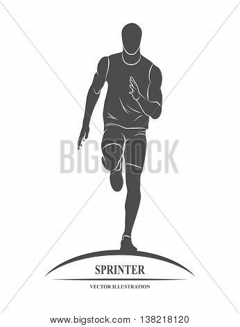 Icon runners on short distances sprinter. Vector illustration.
