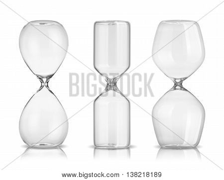Empty hourglasses isolated on a white background