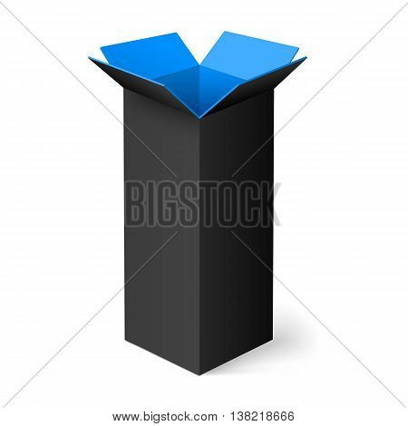 Black opened rectangular box with blue color inside