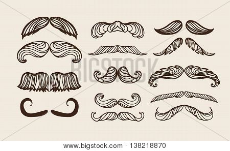 Mustache brown hair and man mustache hipster set.