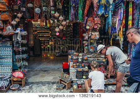 Mostar Bosnia and Herzegovina - August 25 2015. People buys souvenirs on the Old Town of Mostar