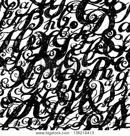 Calligraphy Alphabet Typeset Lettering. Seamless Wallpaper Patte