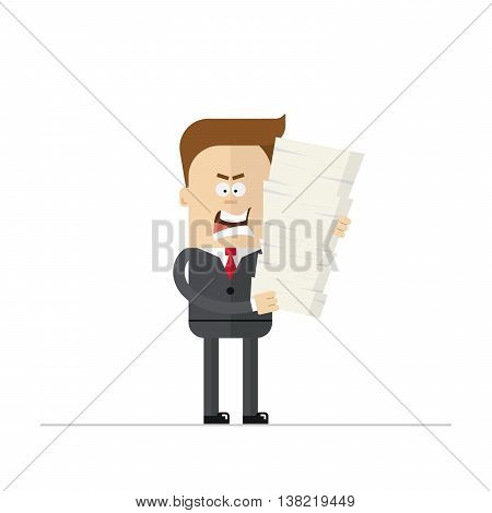 Angry cartoon businessman or manager during the overtime. Isolated on white background