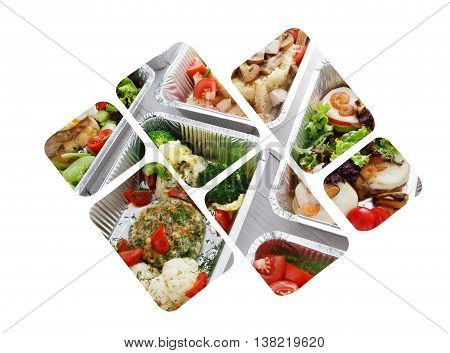 Healthy food background. Take away of natural organic food in foil boxes. Fitness nutrition, meat and vegetable salads rectangular collage at white background