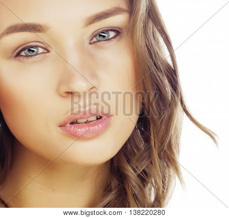 young sweet brunette woman close up isolated on white background, perfect pure innocense, spa face macro