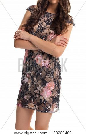 Lady in black floral dress. Dark dress with pink print. Short sleeve dress with lining. Beautiful evening garment.
