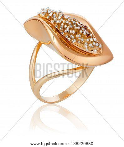 fashionable stylish golden ring. The original gold ring.