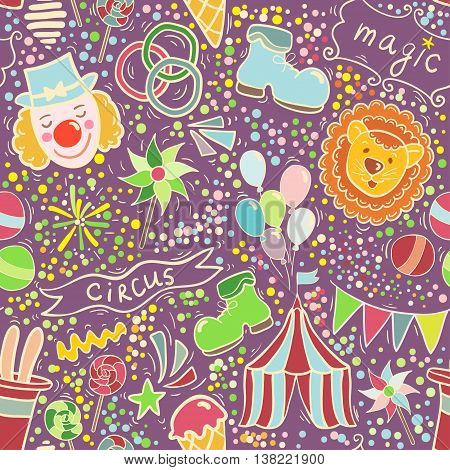 Cute vector seamless pattern with baloons banners animals and oter circus elements