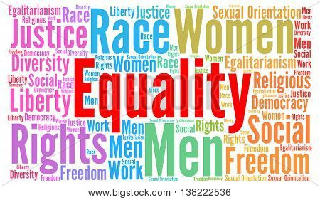 Equality word cloud concept with a white background
