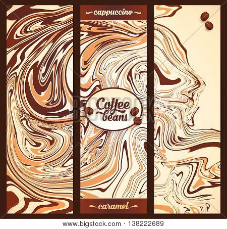 Vertical banners templates set with cappuccino coffee colors vector marble background