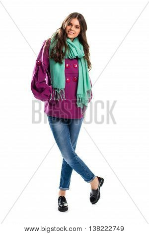 Lady in purple coat smiling. Scarf and black glossy shoes. Simple design of spring outerwear. Look stylish in any weather.