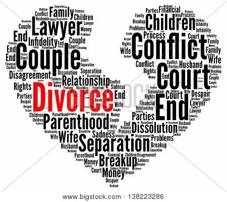 Divorce word cloud concept with a white background