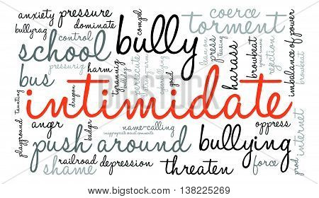 Intimidate word cloud on a white background.