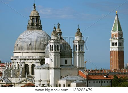 Beautiful view of Churches & Campanile in Venice, ITALY.