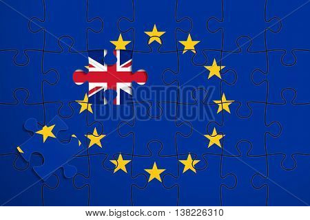 European Union flag in form of assembled jigsaw puzzle of 28 pieces; one piece was removed; flag of United Kingdom instead. British withdrawal from the EU. Brexit concept