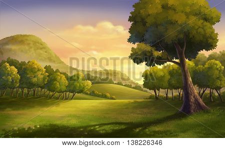 Illustration of an outdoor and meadow at the hill