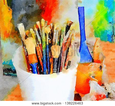 Beautiful painting Of the tools of a Painter