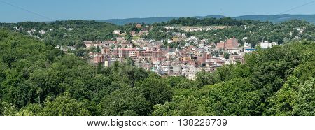View of the downtown area of Morgantown WV and campus of West Virginia University. Sized to fit a popular social media cover image placeholder
