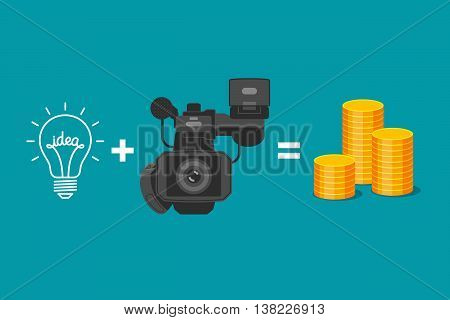 Idea plus video camera is equal to gold coins. Formula of income from realization of ideas. Creativity of videographer and receiving of money