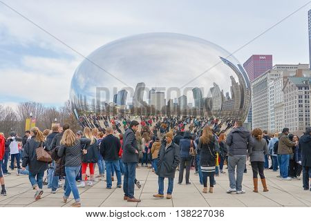 CHICAGO, IL - CIRCA MARCH, 2016: Cloud Gate in the daytime. Cloud Gate is a public sculpture by Indian-born British artist Anish Kapoor.