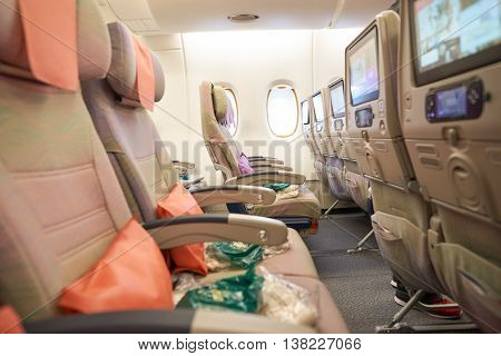 HONG KONG - MAY 12, 2016: inside of Emirates Airbus A380. The Airbus A380 is a double-deck, wide-body, four-engine jet airliner manufactured by Airbus. It is the world's largest passenger airliner.