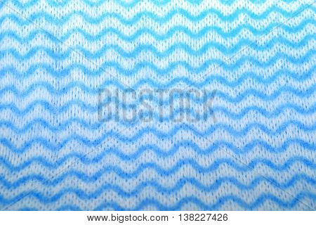 Blue and white sponge cloth (cleaning cloth) with zig zag wavy pattern
