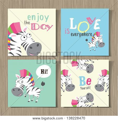 Collection of cute cards with cute cartoon animals