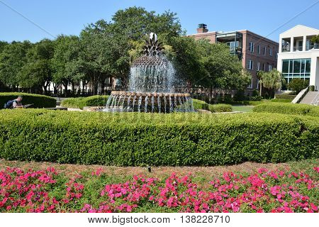CHARLESTON SOUTH CAROLINA USA JUNE 26 2016: The Pineapple Fountain, a large fountain shaped like a pineapple located immediately in front of the City Gallery.