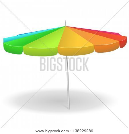 Rainbow colored beach umbrella isolated on white background vector illustration.